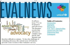 EVALNEWS:Evaluation and advocacy newsletter