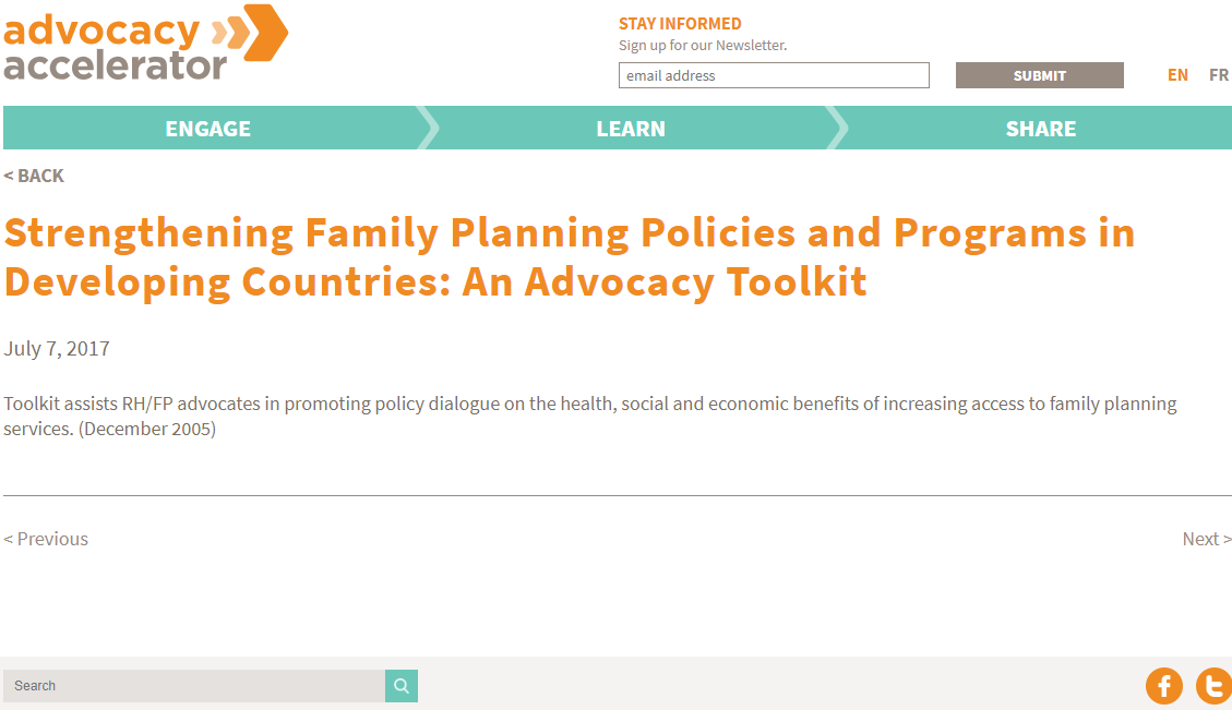 Strengthening Family Planning Policies and Programs in Developing Countries: An Advocacy Toolkit
