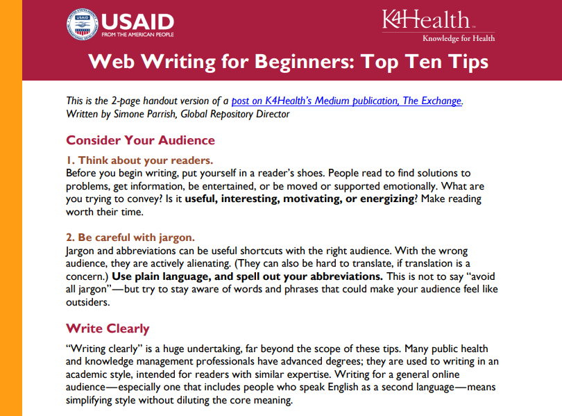 Web Writing for Beginners: Top Ten Tips