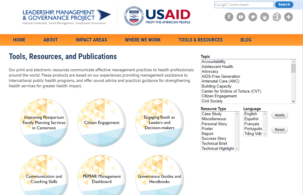 USAID Leadership, Management & Governance Project: Tools, Resources, and Publications