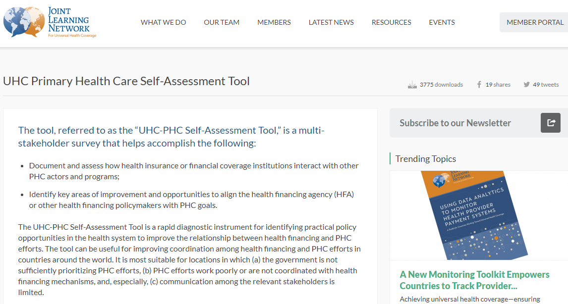 Universal Health Care-Primary Health Care Self-Assessment Tool