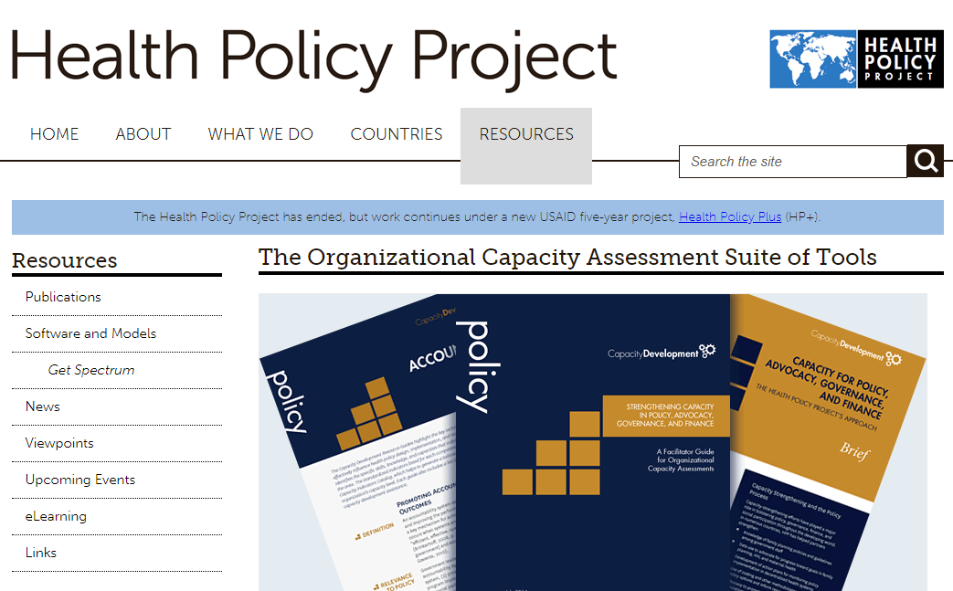 The Organizational Capacity Assessment Suite of Tools