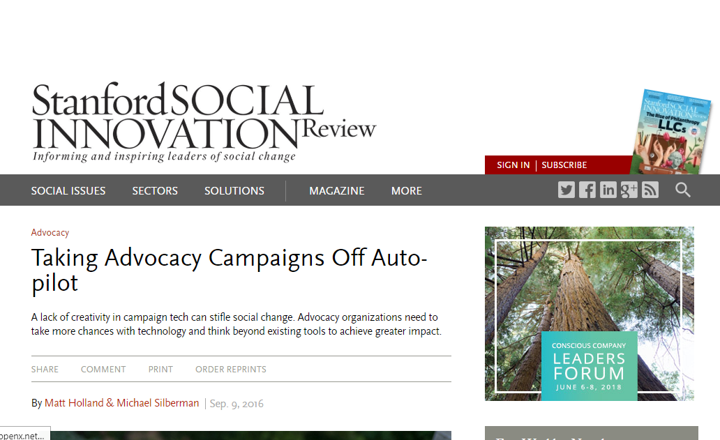 Taking Advocacy Campaigns Off Auto-pilot