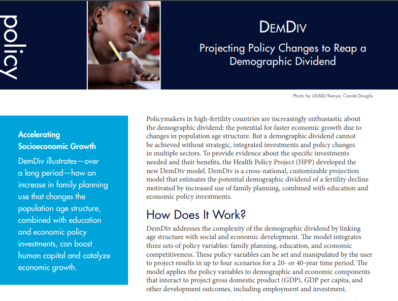 Demography Dividend: Projecting Policy Changes to Reap a Demographic Dividend