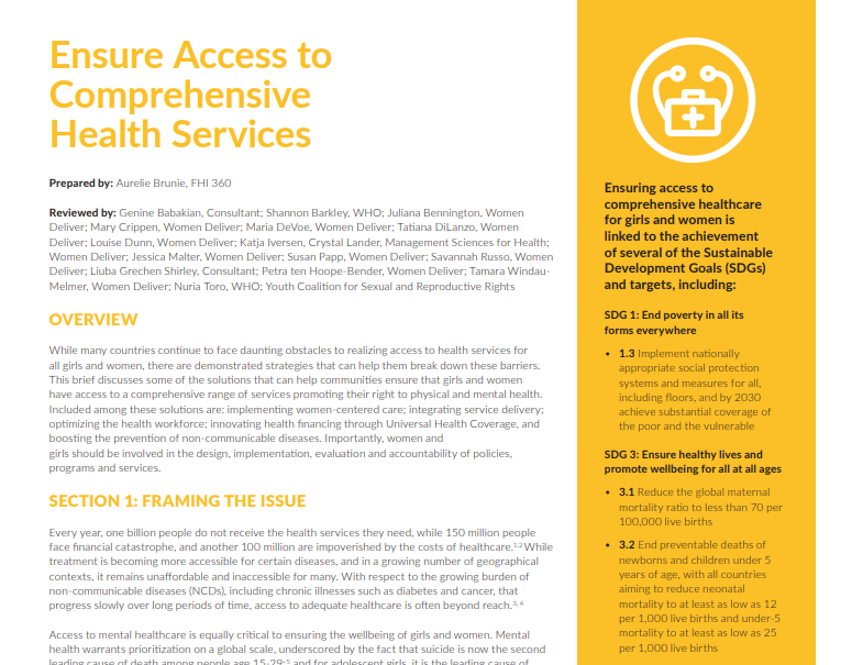 Ensuring Access to Comprehensive Health Services
